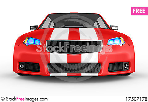 Free Red Sports Car Isolated On White Royalty Free Stock Photos - 17507178