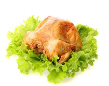 Free Roast Chicken On Leaves Salad , Isolated. Royalty Free Stock Photography - 17500487