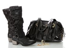 Free Black Female Boots And Bag. Stock Photos - 17500723