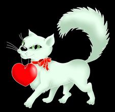 Free Kitten With A Heart And Bow Stock Photography - 17502792