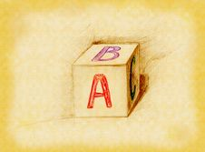Alphabet Block Drawn In Pencil