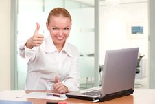 Free Businesswoman Showing Thumb Up Stock Images - 17503624