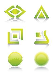 Free Green Glossy Signs And Symbols Set Royalty Free Stock Photos - 17503858