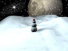 Free Big Moon In Winter Stock Photo - 17504010
