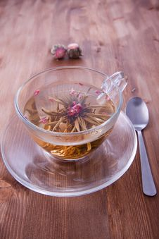 Free Cup Of Green Tea With Teaspoon Stock Photo - 17504710