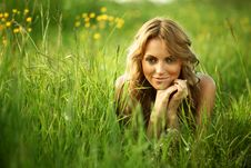 Free Blonde On Grass Stock Photography - 17504762