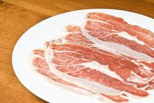 Spanish Cured Ham On A White Plate Stock Photo