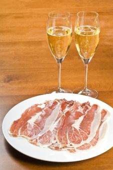 Spanish Cured Ham And Champagne Royalty Free Stock Image
