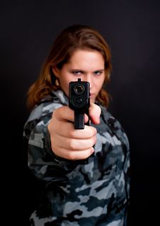 Free Girl With A Gun Stock Images - 17505154
