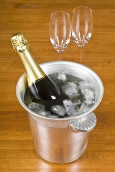 Bottle Of Champagne In An Ice Bucket Royalty Free Stock Photography