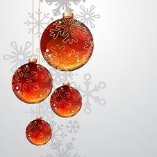 Free Christmas Greeting Card With Red And Gold Balls Stock Photo - 17505630