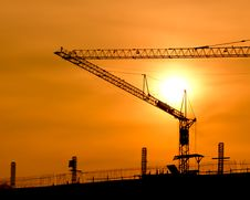 Free Crane For Construction And Sunset Royalty Free Stock Photos - 17506428