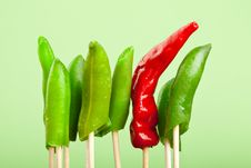 Free Red Hot Chili Pepper And Green Beans Stock Image - 17507661