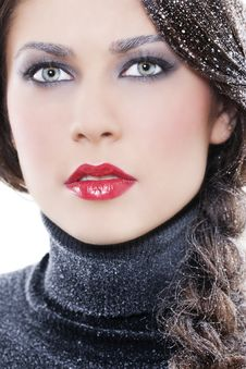 Sexy Winter Makeup Stock Image