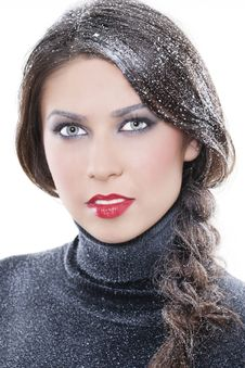 Sexy Winter Makeup Stock Photo
