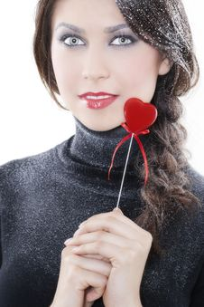 Smiling Woman With Heart Royalty Free Stock Photo