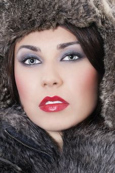 Free Beautiful Woman In A Fur Coat Stock Photography - 17507952