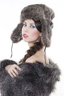 Free Beautiful Woman In A Fur Coat Stock Photography - 17507962