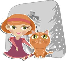Free Girl Playing With A Red Cat Stock Image - 17509211