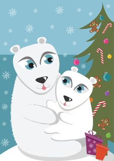 Free Mother And Baby Polar Bear Stock Image - 17509271