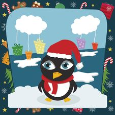 Christmas Penguin Stock Photography