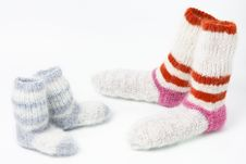 Pairs Of Strip Woolen Man`s And Child`s Socks Stock Image