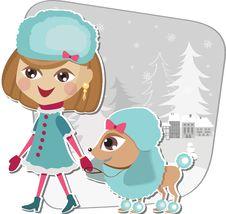 Christmas Walk With A Dog Stock Image