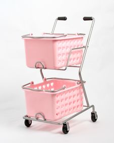 Pink Shopping Trolley Stock Images