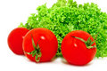 Free Red Tomatoes And Green Lettuce, Isolated On White Stock Photography - 17511892