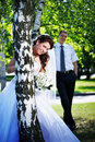 Free Bride And Groom At The Birches Royalty Free Stock Photography - 17513637