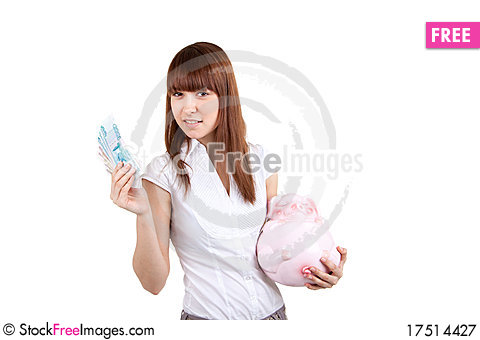 Free The Girl With A Coin Box And Money Royalty Free Stock Photography - 17514427