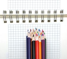 Free Blank Notebook And Color Pencils Royalty Free Stock Photo - 17510165