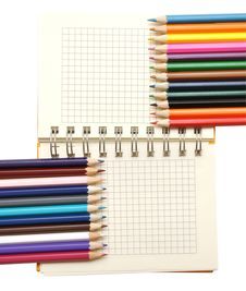 Free Blank Notebook And Color Pencils Royalty Free Stock Photo - 17510185