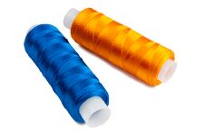 Blue And Yellow Spools Stock Photo