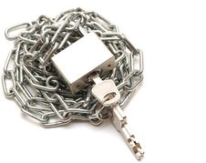 Free Lock And Chain On White Background Stock Photo - 17510460