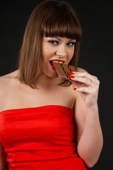 Free Girl With Chocolate Royalty Free Stock Image - 17510816