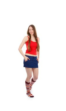 Free Woman Legs In Strip Sock Stock Images - 17511114