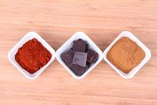 Chocolate, Cinnamon And Chili Stock Images