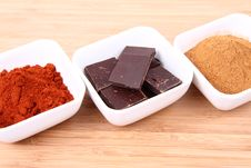 Chocolate, Cinnamon And Chili Royalty Free Stock Images