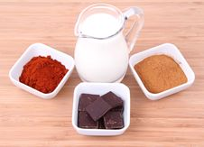 Chocolate, Cinnamon, Chili And Milk Stock Photography