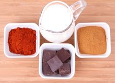 Chocolate,milk, Cinnamon And Chili Royalty Free Stock Photography