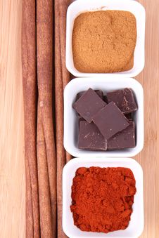 Chocolate, Cinnamon And Chili Stock Photos