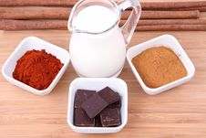 Chocolate,milk, Cinnamon And Chili Royalty Free Stock Photos
