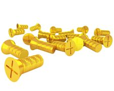 Free Handful Of Golden Screws Isolated On White Royalty Free Stock Image - 17512526