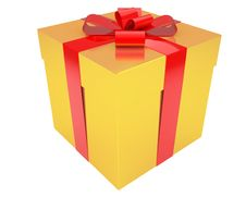 Free Gold Gift Box With Red Ribbon Isolated Royalty Free Stock Images - 17512529