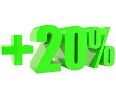Free Green Plus Twenty Percents Isolated On White Royalty Free Stock Photo - 17512555