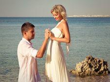 Free Groom Wears Ring Bride On Beach Stock Images - 17512594