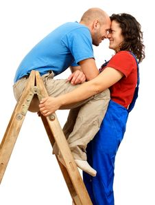 Free Happy Couple On The Ladder Royalty Free Stock Photography - 17513037