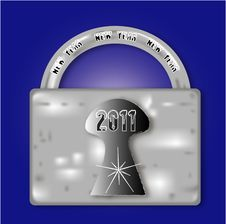 Free Metal Lock For The New Year 2011 Royalty Free Stock Photography - 17513537