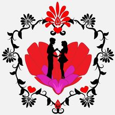Free Black Silhouette Of A Loving Couple On A Heart Stock Photo - 17513950